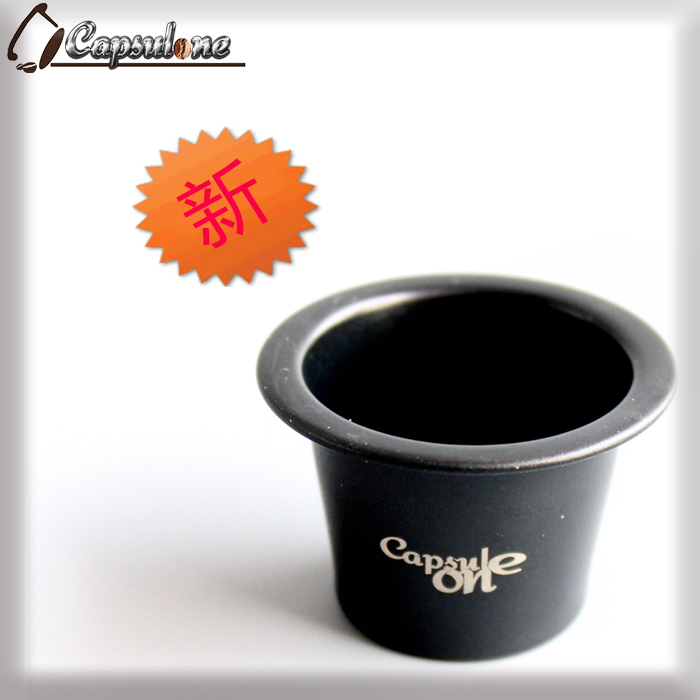 capsulone black compatible capsule for nespress/espresso reusable coffee capsule/ sticker lids refillable capsules