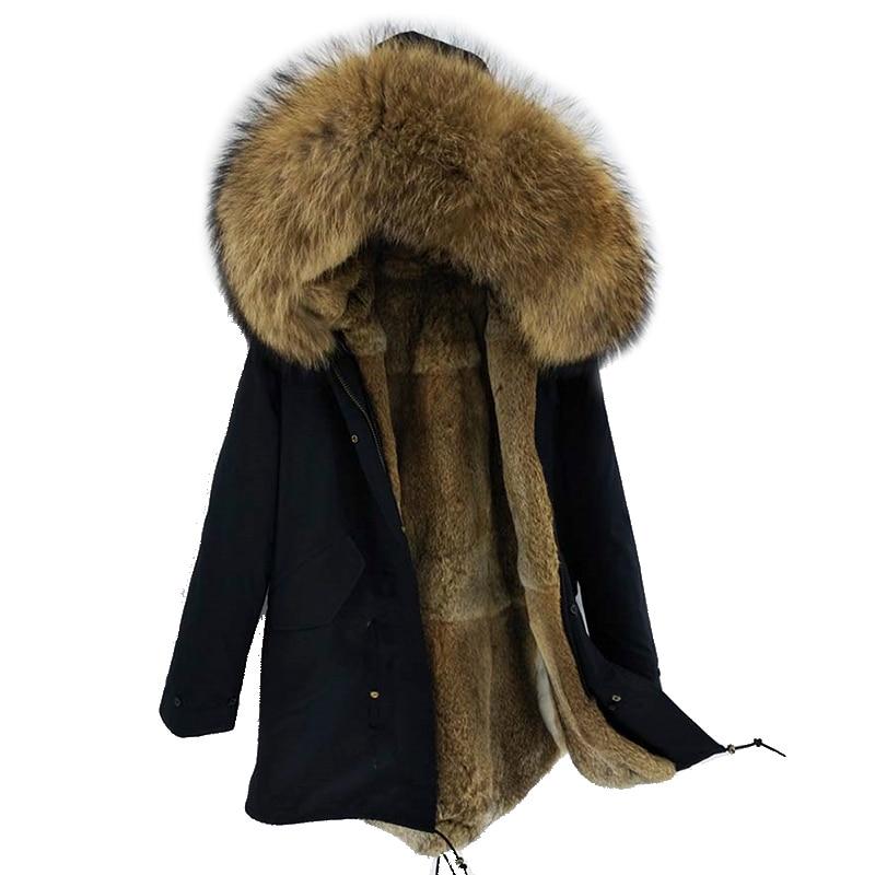 2018 Neue Männer Winter Jacke Lange Parka Echtpelz Mantel Natürliche Rex Kaninchen Pelz Liner Große Waschbären Pelz Kragen Top Marke Dicke Warme Stabile Konstruktion