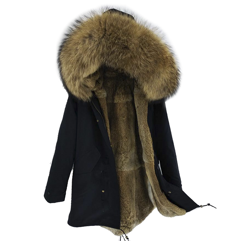 2019 New Men Winter Jacket Long   Parka   Real Fur Coat Natural Rex Rabbit Fur Liner Big Raccoon Fur Collar Top Brand Thick Warm