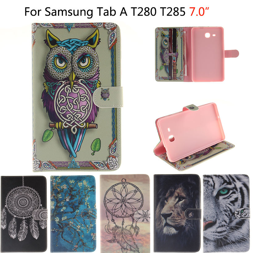 2016 Tab a6 7.0 Case For Samsung Galaxy Tab A 7.0 T280 T285 SM-T280 Case Cover Tablet Owls Tiger animal Flip Leather Funda Shell for samsung galaxy tab a a6 7 0 sm t280 sm t285 stand pu leather flip cover case for samsung t280 t285 screen film stylus