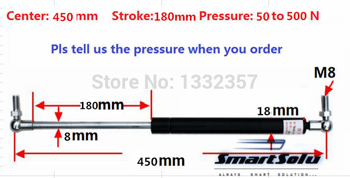 Free shipping 50 to 500N force 450mm central distance, 180 mm stroke, pneumatic Auto Gas Spring, Lift Prop Gas Spring free shipping 60kg 600n force 280mm central distance 80 mm stroke pneumatic auto gas spring lift prop gas spring damper