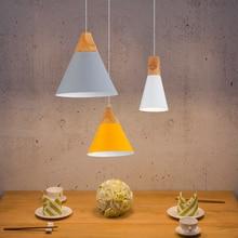 [Ygfeel] подвесные светильники Обеденная Подвеска лампы современный красочный Ресторан Кофе Спальня освещения Утюг + твердой древесины E27 держатель