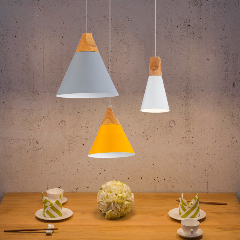 Modern Dining Room Pendant Lights Indoor Bedroom Colorful Pendant Lamps Restaurant Coffee Lighting Iron+Solid Wood E27 Base