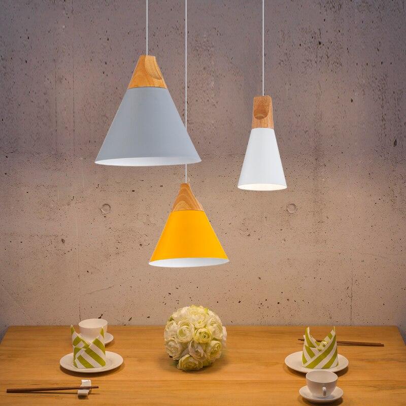 Moderne Esszimmer Anhänger Lichter Innen Schlafzimmer Bunte Anhänger Lampen Restaurant Kaffee Beleuchtung Eisen + Massivholz E27 Basis
