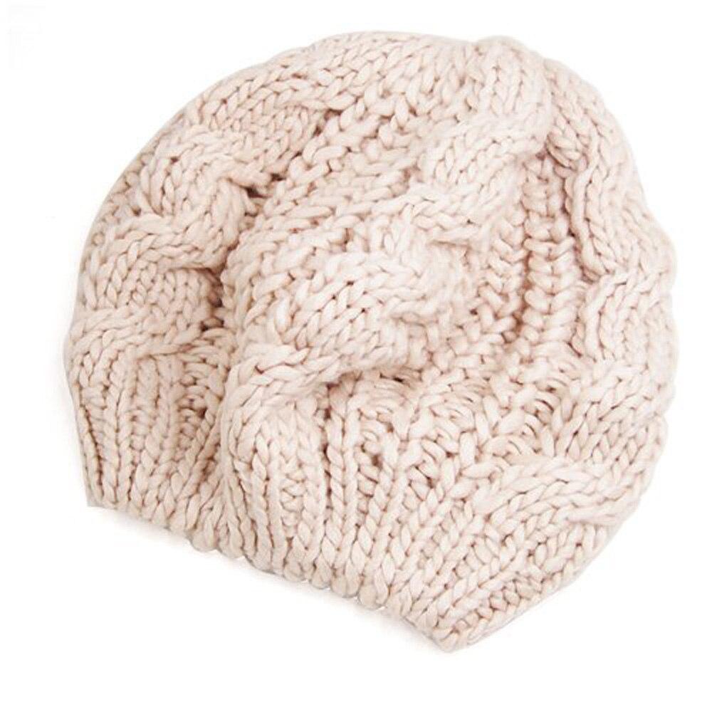 HOT SALE!Beige Winter Lady's Warm Knit Beret Ski Cap Baggy Beanie Crochet Women Hat Gift pentacle star warm skull beanie hip hop knit cap ski crochet cuff winter hat for women men new sale