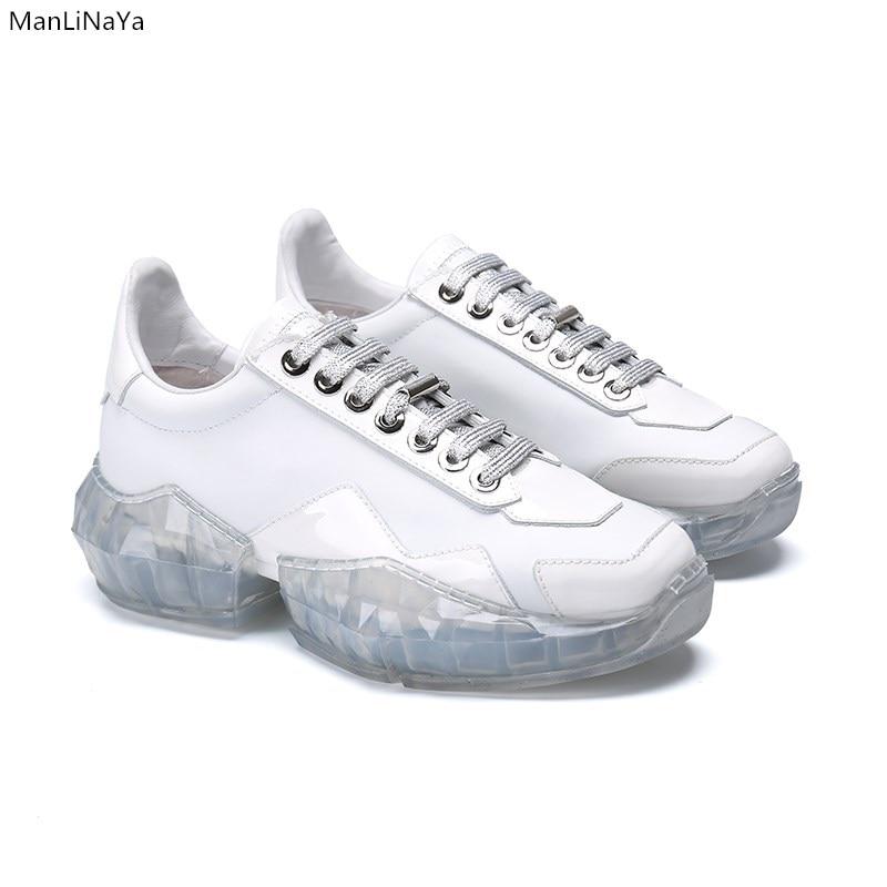 Marca Transparente Las Mujeres Moda Casuales Trin As Encaje Planos Cristal Show as Flash Show Diseño Con Espesor Zapatos Deportivos De rWI0qr