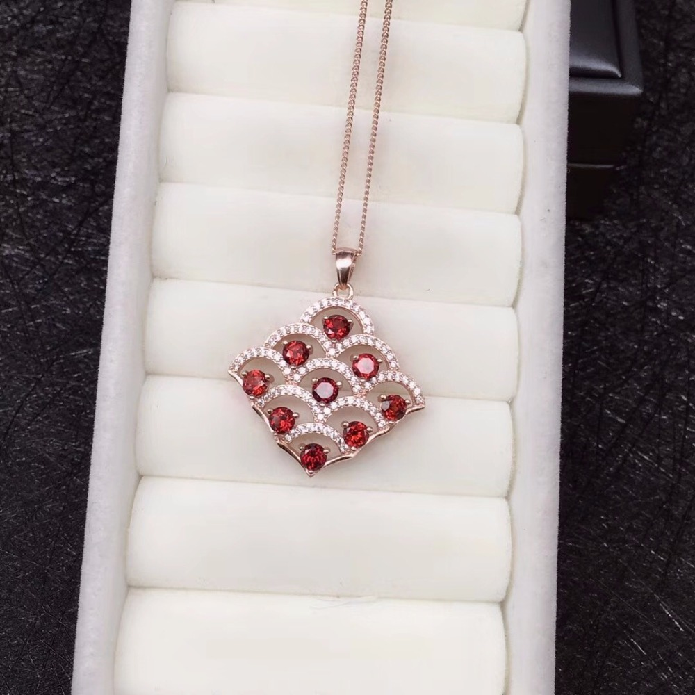 Luxurious Red Garnet Tree Necklace for Women, Rose Gold, Silver 925 Jewelry, 3*3mm*9pcs Gemstone, Velvet Box Certificate FN212-in Necklaces from Jewelry & Accessories    3