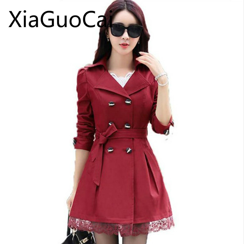 Brand American Made Slim Women Trench Double Breasted Fashion Coats Spring and Autumn Outwear Casual Trench Drop Shipping 35
