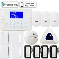 Russian French Menu LCD Screen APP Control Anti Burglar Gsm Pstn Home Alarm System Wireless Siren