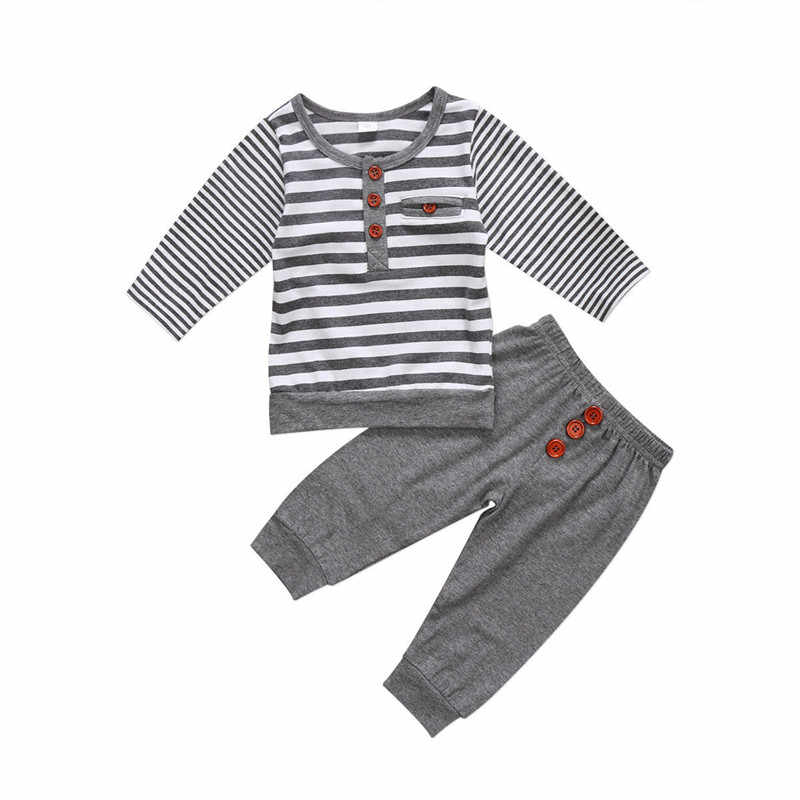 2019 niño pequeño bebé niña Navidad manga larga cuello redondo lindo rayas Top camiseta pantalones conjunto ropa 2 uds