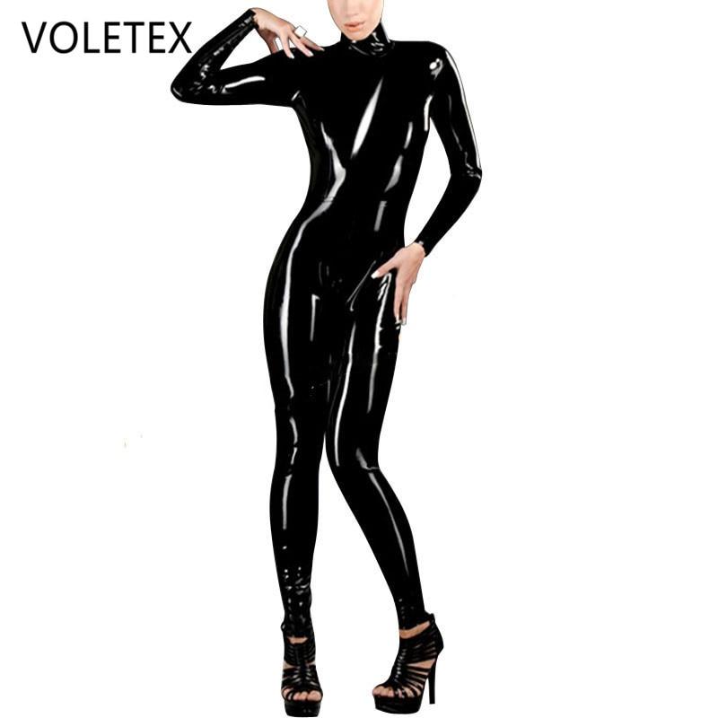 Femmes Latex Catsuit avec fermeture à glissière arrière 0.4mm caoutchouc naturel fétiche combinaison grande taille Zentai