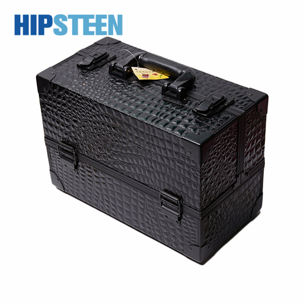 HIPSTEEN Double Open Type Aluminium Alloy Cosmetics Case Portable Automatic Tray Storage Box Black