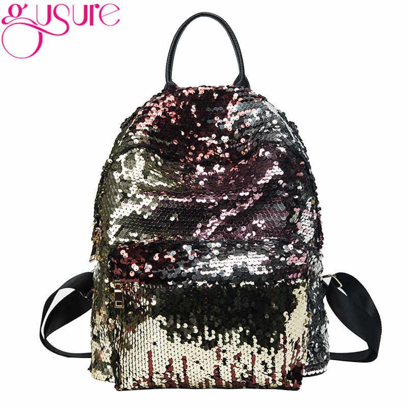 d6193419517f GUSURE Новый Модный женский рюкзак с пайетками для девочек, школьный рюкзак  для отдыха, кожаный