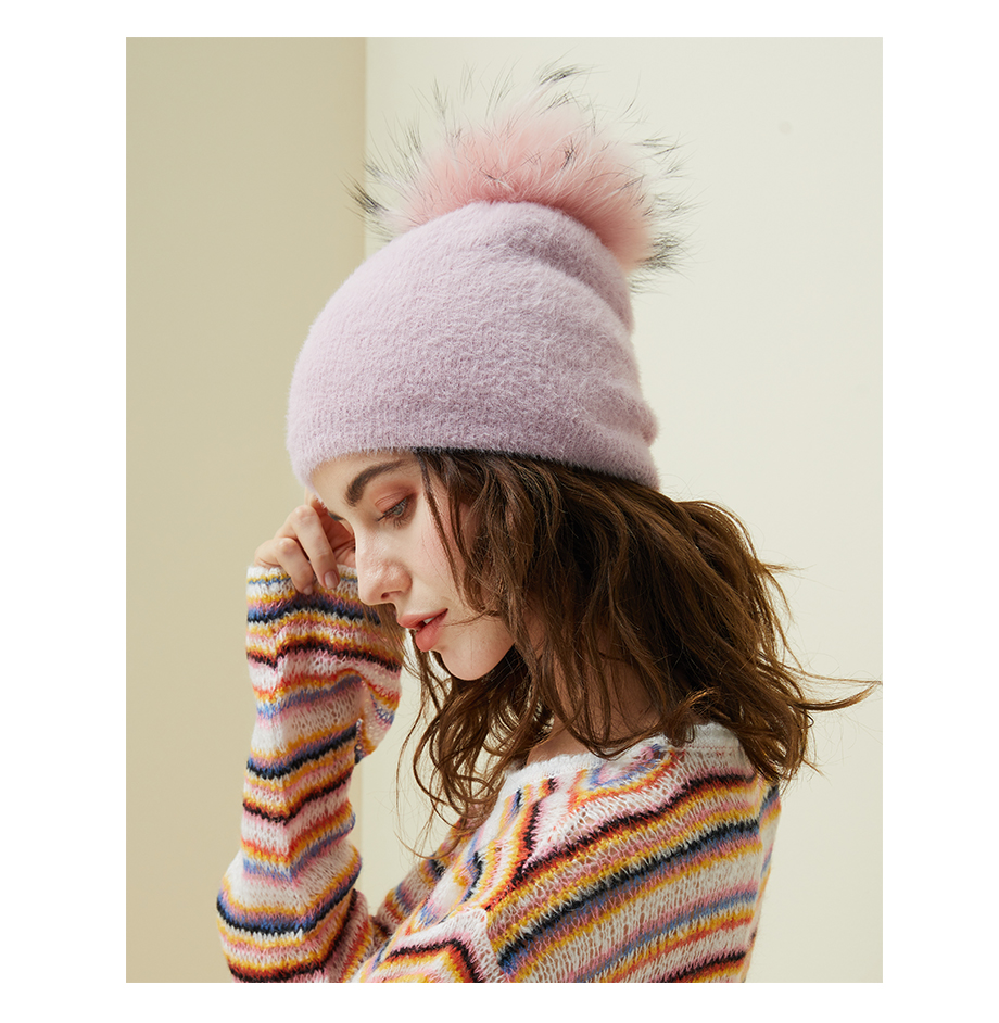 Hat Female Raccoon Hair Ball Beanies Winter Warm Wool Bonnet Pompom Beanies 2018 Fashion Russia Knitted Skullies Cap For Girls (18)