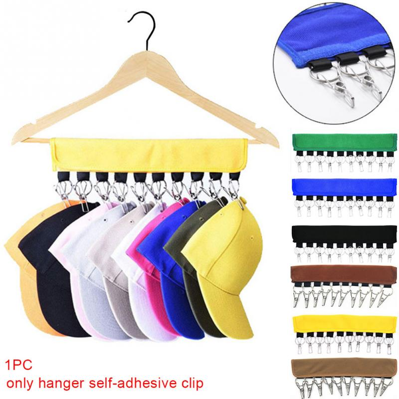 10 Clips Hat Rack Travel Door Hanger System Organizer Self Adhesive Portable Foldable Cap Closet Holder Storage