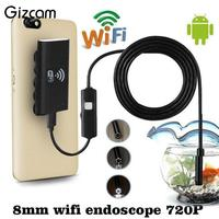 Gizcam 1M 8mm Wifi Wireless Endoscope For IOS For Android Borescope HD 720P 2 0MP 6LED