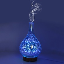 3D Glass Fireworks Pattern Air Humidifier Aroma Essential Oil Diffuser With LED Night Lights Purification Home Mist Maker