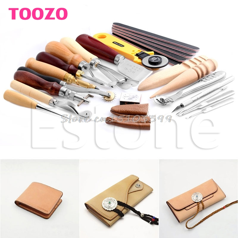 Leather Craft Punch Tools Kit Stitching Carving Working Sewing Saddle Groover Drop Ship 23pcs leather craft tools kit hand leather sewing canvas stitching punch carving work saddle diy leather craft sewing tool set page 7