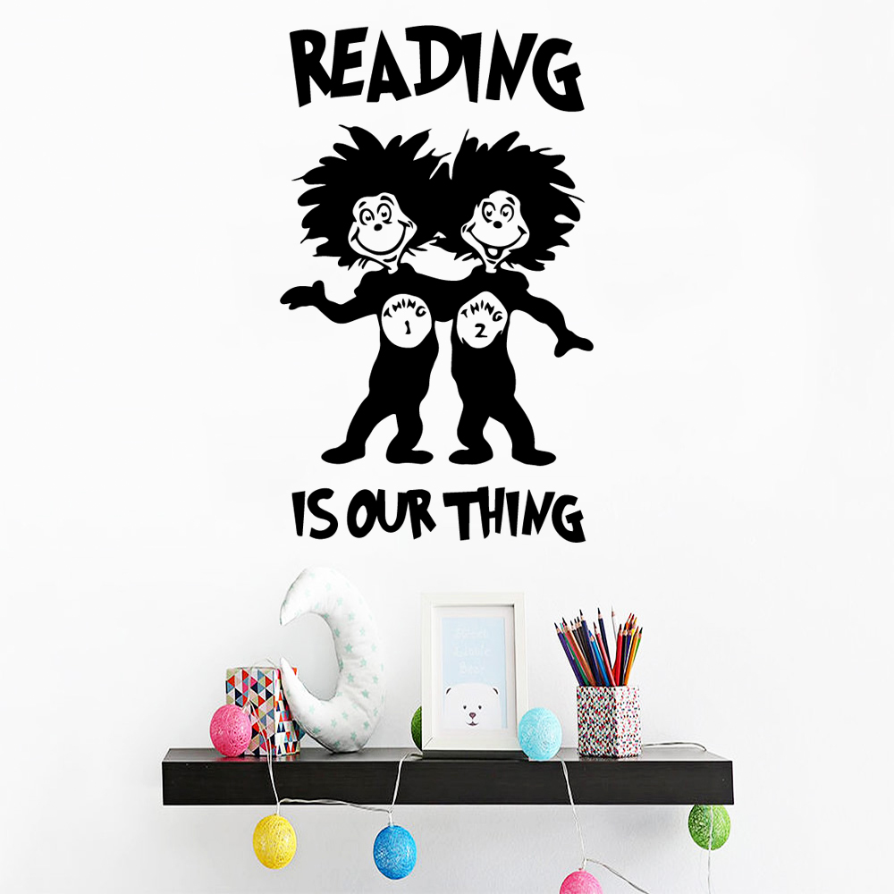 XL reading is our thing Vinyl Waterproof Wall Decal for Living Room Company School Office Decoration Removable Decor Wall Decals in Wall Stickers from Home Garden