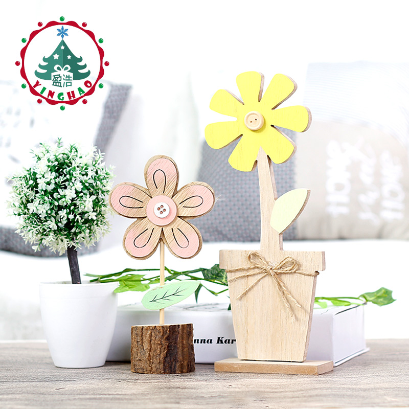 Inhoo 4pcs Spring Wooden Crafts Pink Tulips And Yellow Flowers