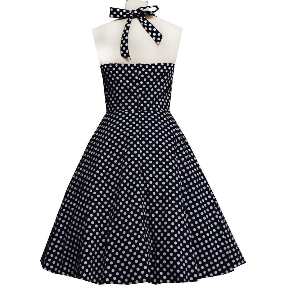- 60-50 השמלה של אודרי הפבורן פולקה דוט רטרו להתלבש רוקבילי בתוספת גודל 4XL בנות הקיץ להדפיס שמלות Vestidos Femininos