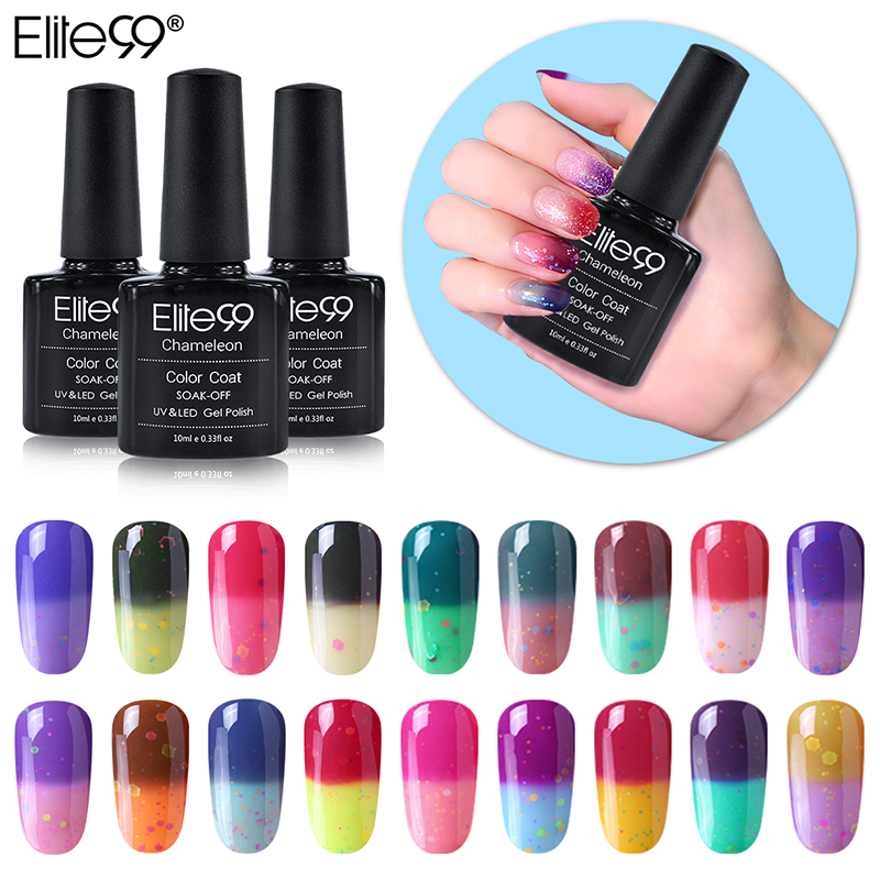 Elite99 Newest 10ml Cheese Mood Temperature Change Color UV LED Gel Soak Off Gel Color C ...