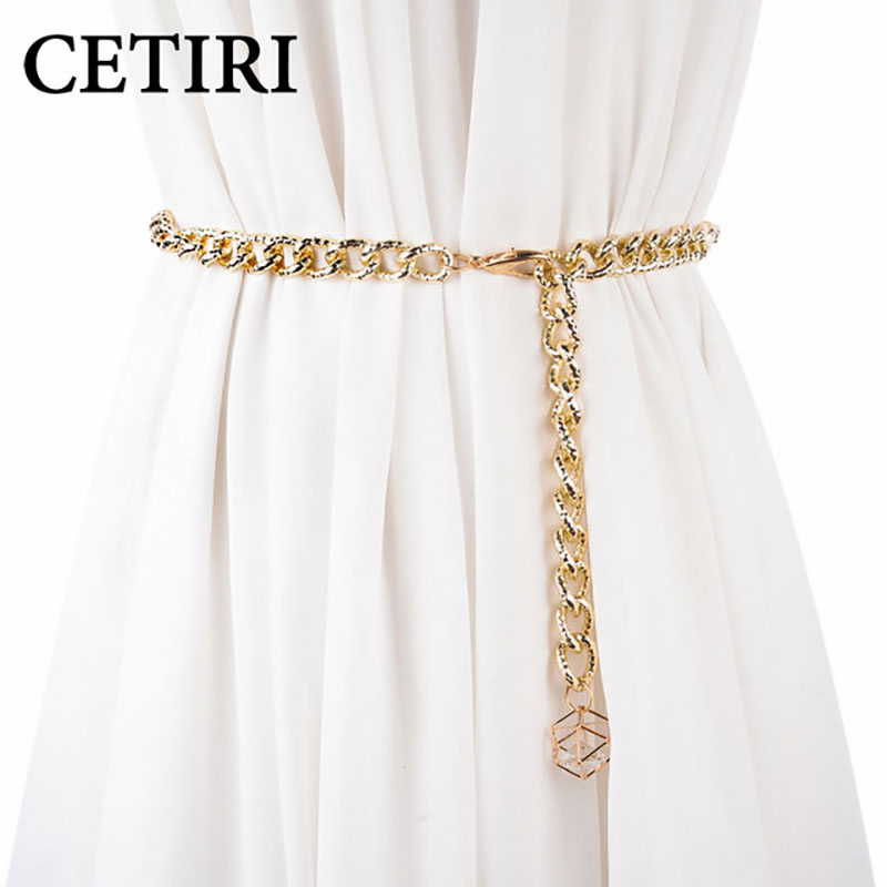 CETIRI   belts   for women chain stretchy strap elegant waist   belt   metal designer   belts   luxury female thin waistband ceinture femme