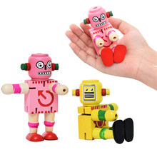 Children Wooden Robot Toy Baby Learning Educational Toy Elasticity Deformation Robot Kids Early Learning Toys(China)