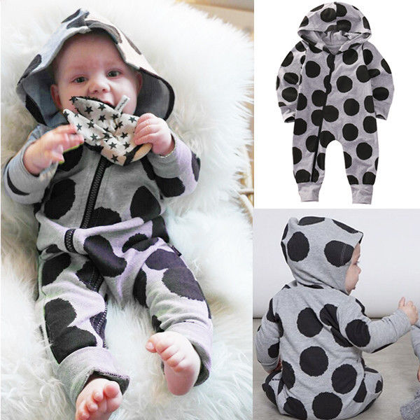 0-24M Newborn Baby Boy Girl Clothes Fashion Bebes Autumn Winter Warm Long Sleeve Dot Zipper Hooded Romper One Pieces Outfit 2016 fashion baby boy girl romper clothes autumn winter warm bebes playsuit zipper long sleeve jumpsuit one pieces outfits suit