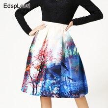 Edsplovd картина маслом печати высокое качество модные Весна-осень-зима бальное платье юбка Винтаж Венеция вилла Эгейское море as501