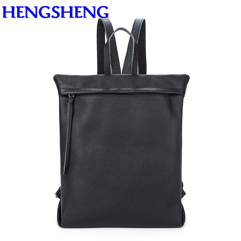 Hengsheng top quality genuine leather men backpack of best zipper men women leather backpack with cow leather male backpacks s c cotton brand backpack men good quality genuine leather
