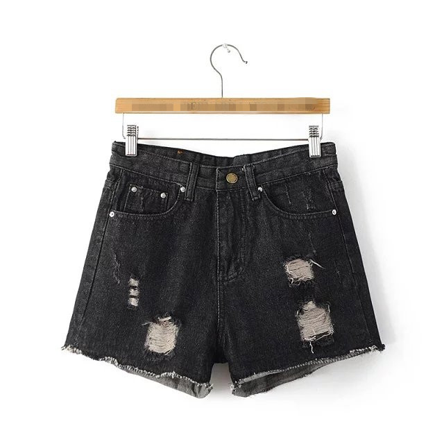 2016 women new fashion casual solid black shorts denim mid waist summer short hot hole skinny SML drop shipping S-XL