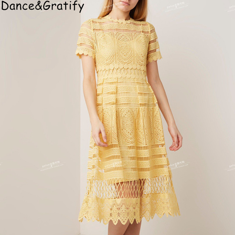 f39ca986aa69b Women Elegant Yellow Lace Dress Summer Style Short Sleeve Hollow Out ...