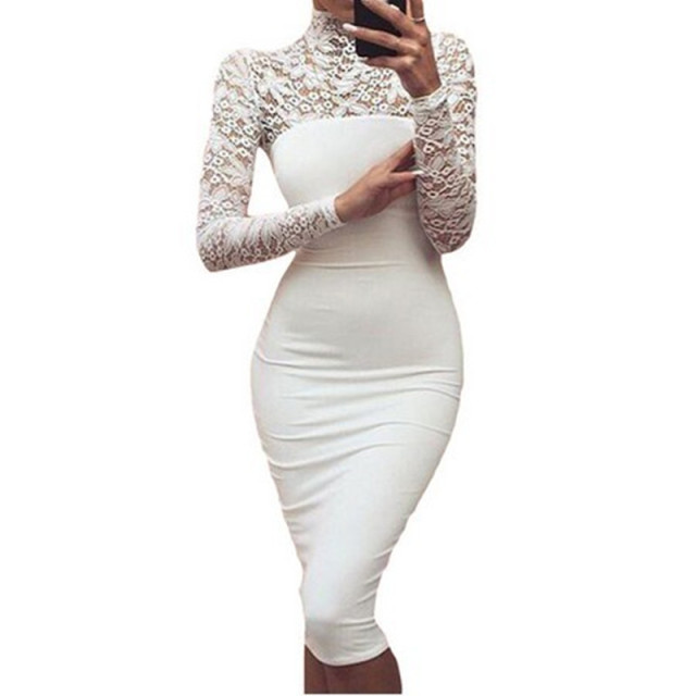bcddbbaa6a9 Sexy Women Autumn Lace Dress New 2018 Winter Turtleneck Long Sleeve Red  Black Club Factory Bodycon