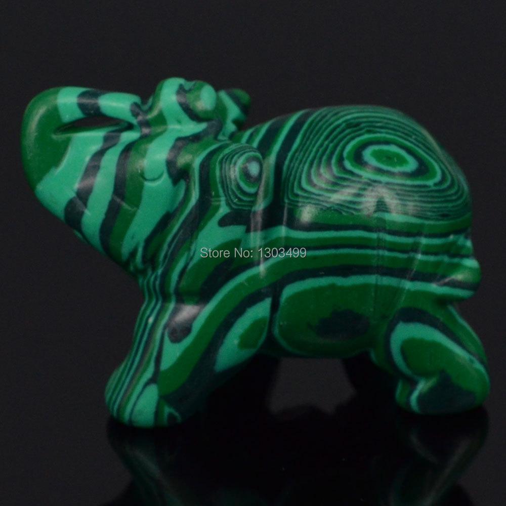 """1,9 """"Grøn Taiwan turkis elefant udskåret figur Stone Chakra Healing Reiki Stone Feng Shui Håndværk"""