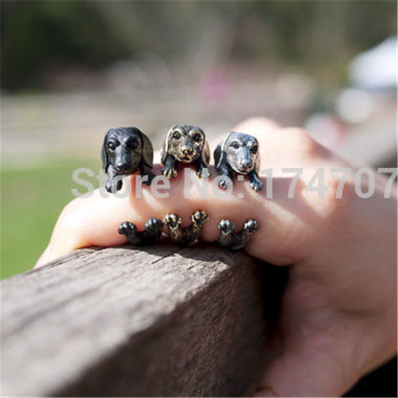 Wholesale Vintage Dachshund dog (sausage dog) rings Women Men Adjustable Fashion Rings Gift