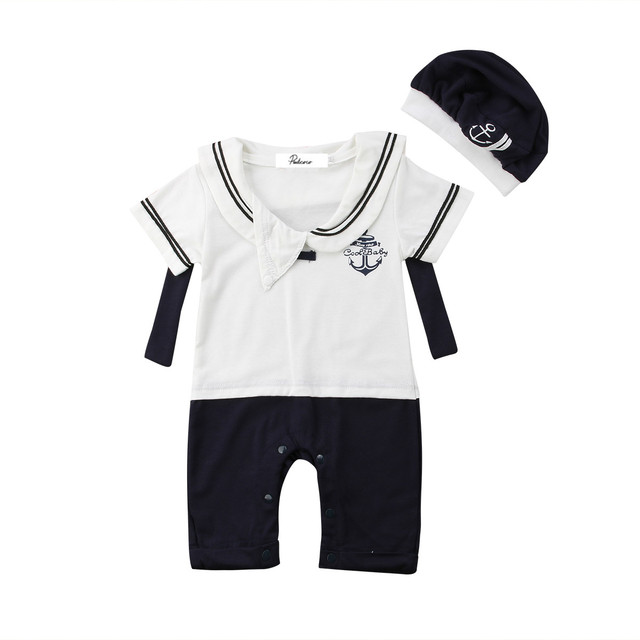 91176d12711b2 Cute Baby Boy Girl Clothes Sailor Costume Suit Toddler Romper Hat 0-24M  Infant Kids Playsuit Summer Baby Clothes