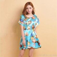 2017 Women's Summer Homewear Flower Print Nightgown Plus Size Nightdress Imitation Silk Short sleeve Tunic Sleepshirt Belt Dress