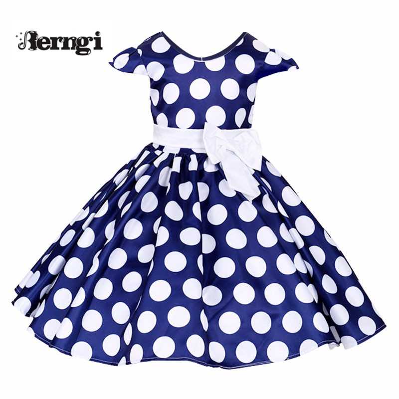 Berngi Girl Round Dot Dress New Casual Pure Cotton Girls Birthday Party Princess Kids White&blue tutu Children Clothes