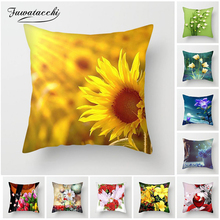 Fuwatacchi Sunflower Cushion Covers Lotus Lily Rose Pillow Cover for Home Chair Sofa Seat Car Decorative Flower Pillowcase