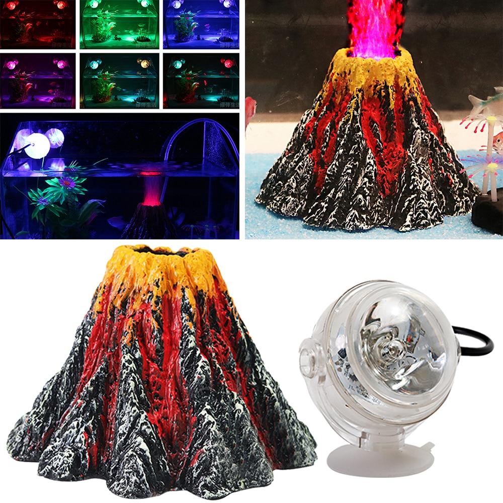 Fish tank volcano - Aquarium Volcano Shape Ornament Kit Fish Tank Decoration Colored Usb Port Led Dive Lamp Set For