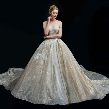 2018 Haute Couture A-Line Wedding Dress Appliques Flowers Bridal Gowns Shinning Sequins Big Train vestidos de noiva Wedding Dresses