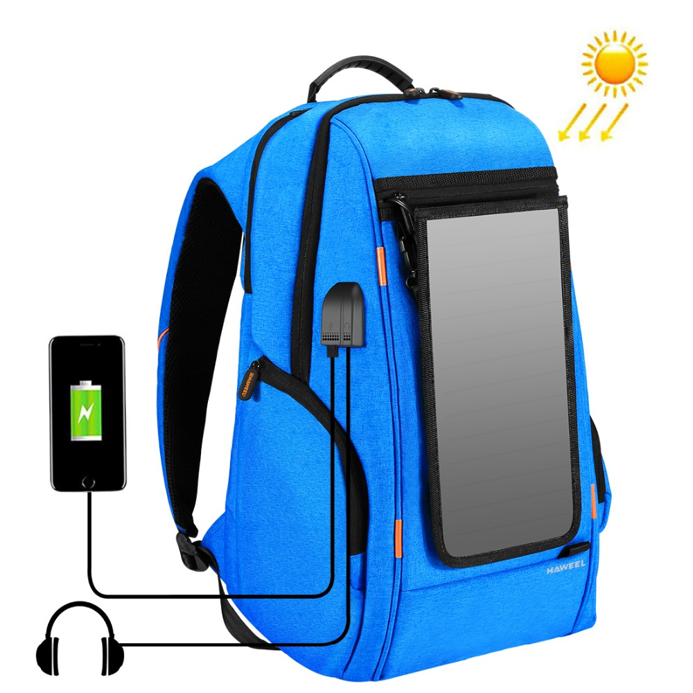 PULUZ Outdoor Multi-function Solar Panel Power Comfortable Breathable Casual Backpack Laptop Bag for 3C /Camera Accessories