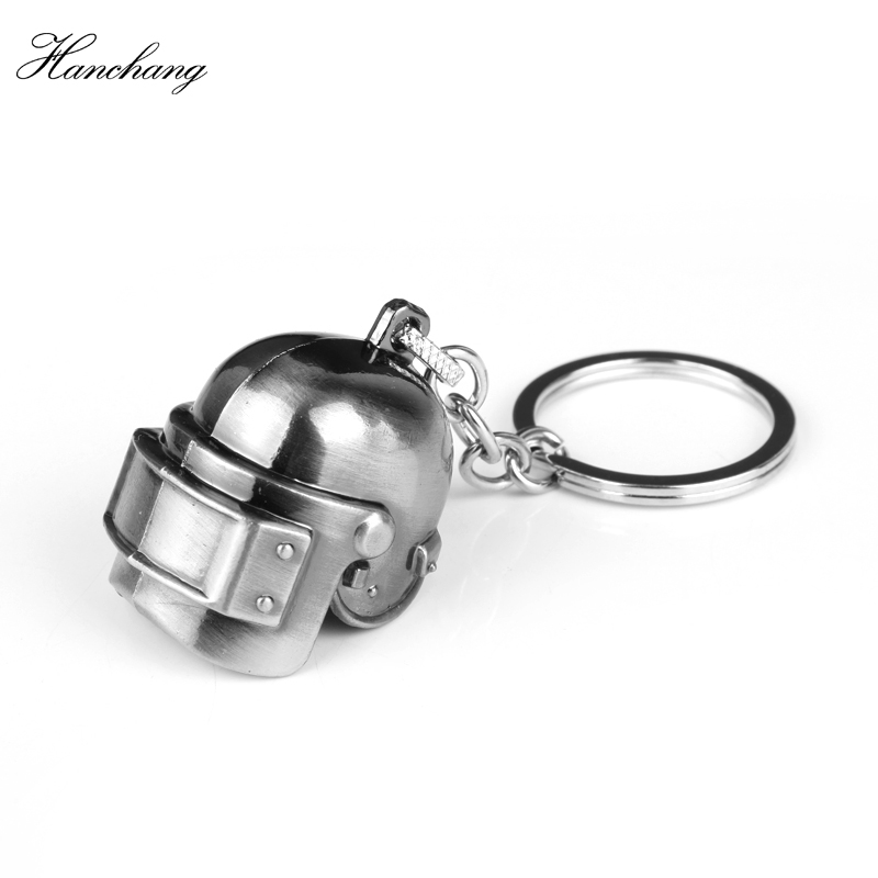 HANCHANG Hot PUBG Pan Playerunknowns Battlegrounds Pendant Keychain Men Car Key Gift Level 3 Helmet 3D Metal Keyring Jewelry