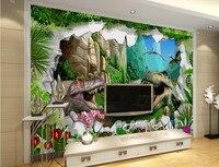 Grandes murales, Antigua era de los dinosaurios estéreo 3D murales de papel tapiz, los niños 3d wallpaper dormitorio sala de estar sofá TV pared papel de parede