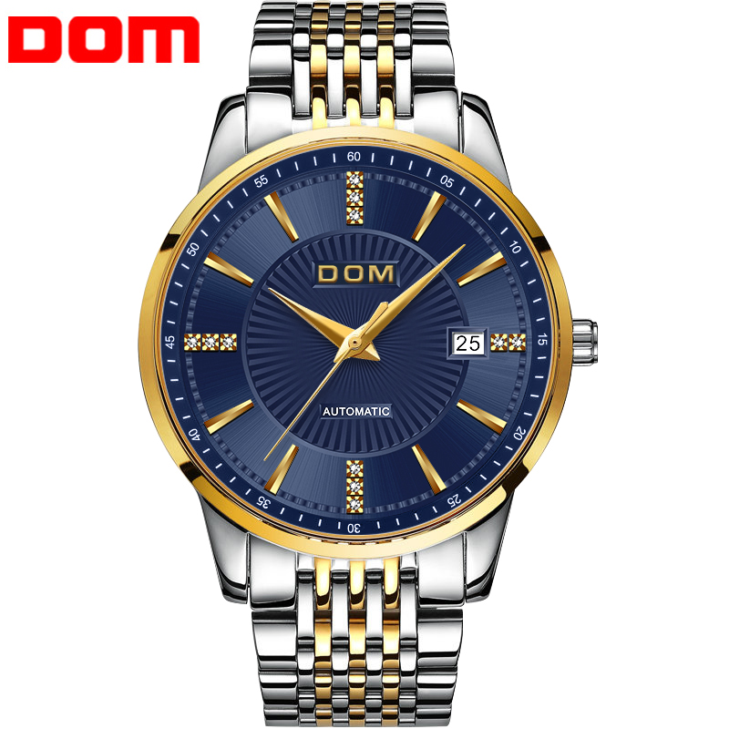 Men Watch Mechanical Stainless Steel Ultra Thin Japanese Movement DOM Men Watch Waterproof Auto Self-wind 2018 New relogio M-79 tevise fashion auto date automatic self wind watches stainless steel luxury gold black watch men mechanical t629a with tool