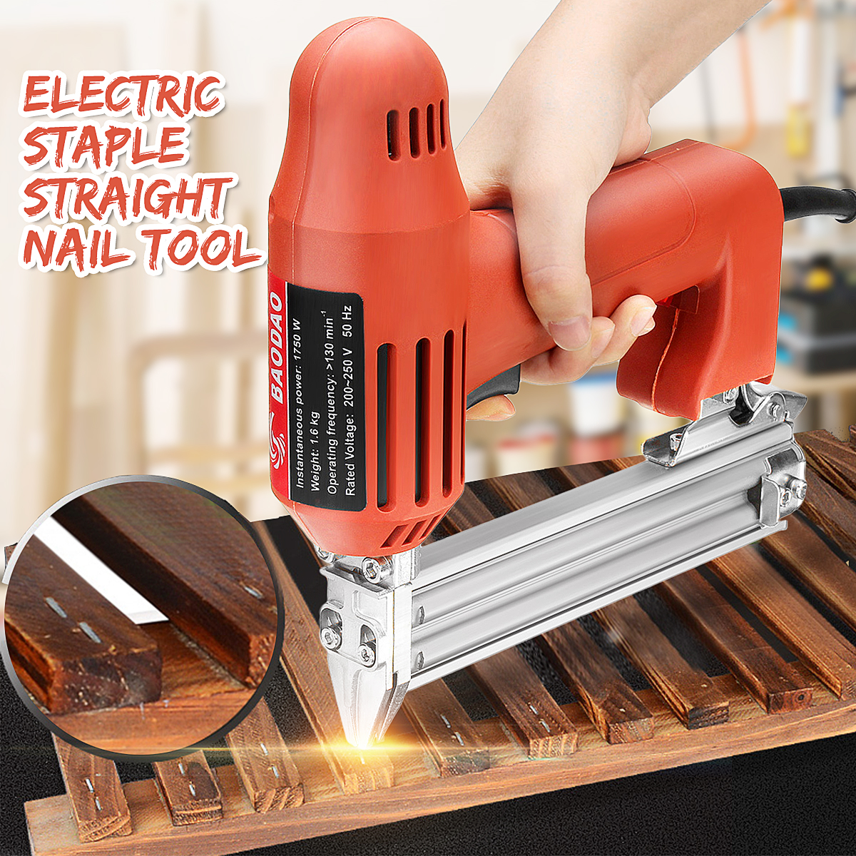220V 1800W Nail Staple Guns Electric Nailer 10-30mm Straight Woodworking Tool Light Weight Portable 60/min Firing Speed Rate220V 1800W Nail Staple Guns Electric Nailer 10-30mm Straight Woodworking Tool Light Weight Portable 60/min Firing Speed Rate