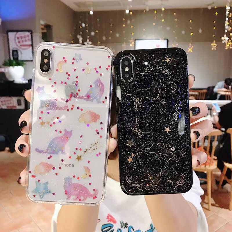 Funda brillante de lujo para iPhone 7 funda para iPhone 8 7 6 6S Plus X XR XS MAX funda trasera adorable gato de silicona suave