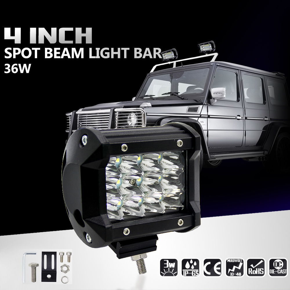 4inch 36W LED Light Bar Work Light Spot Beam Driving Fog Light Road Lighting for Jeep Car Truck SUV Boat Marine 2016 new super bright 50w 12 inch 9 led car off road lamp 9 32v ip68 automobile truck work light fog driving light energy saving