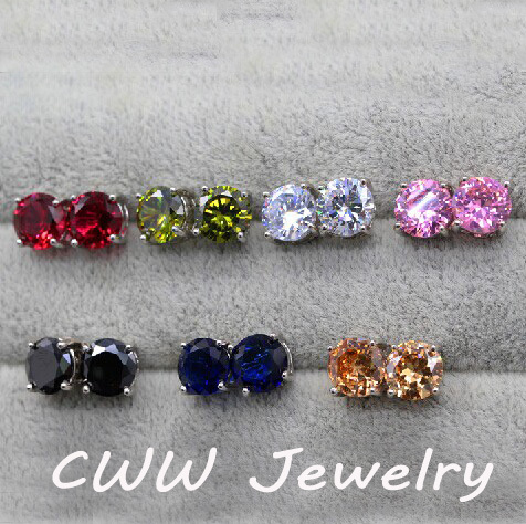 Cheap Wholesale Price ! 12pcs A Lot Round CZ Crystal Rhinestone Wholesale Fashion Stud Earrings For Men and Women (CZ190)